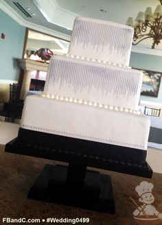 "Design W 0496 | Fondant Wedding Cake | 12""+ 9""+ 6"" | Serves 120 | Custom Stencil Stencils, Satin Ribbon | Custom Quote"