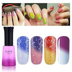 iLuve Long Lasting Soak Off Chameleon Temperature Colour Change Nail Polish with 72 Colors Choices  4 bottle with 12ml UV Gel Polish of Color 54024 * Read more  at the image link. Note:It is Affiliate Link to Amazon.