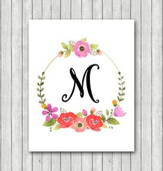 Monogram Initial Floral Wreath Art Print