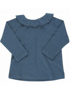 Serendipity Baby Blouse, Stormy Blue, Blå genser med krage til baby