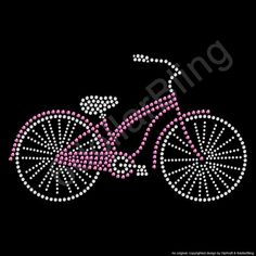 Rhinestone Iron On Transfer Pink Bicycle with basket of flowers Cruiser Bike Riding Crystal Bling Design Applique - Make Your Own Shirt DIY! Rhinestone Art, Rhinestone Transfers, Dot Art Painting, Stone Painting, Make Your Own Shirt, Motifs Perler, Button Art, String Art, Bead Art