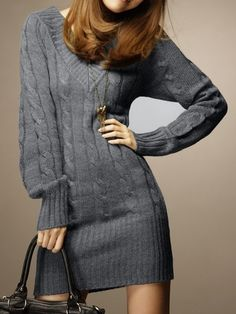 Women' Casual V Neck Long Sleeve Cotton  Knitted-dress Knitted Dress from fashionmia.com