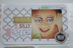 Silly POCKET PAGES layout.  Crazy eyes.  mambi blog.