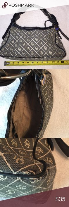 """Dooney & Bourke Black & Brown Purse D&B Purse, black & brown, 12""""x6""""x4-1/2"""", shoulder drop of 7"""", scuff marks on bottom material as shown in picture. Dooney & Bourke Bags Mini Bags"""