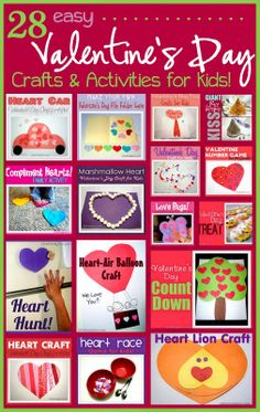 Tons of easy and fun crafts & activities for Valentine' Day! Kids will love these.