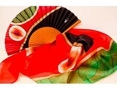 Conjunto de abanico artesanal y pañuelo de seda natural. Una joya!