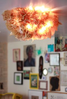 Light Made from Plastic Grocery Bags.  What!!! I have so many plastic bags.  Could totally do this.