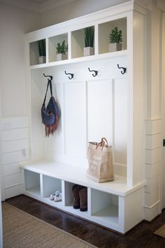 Our Dream Home Family Friendly Mud Room Maggie Griffin Design. Photo by Alexandra Mudroom Laundry Room, Laundry Room Remodel, Laundry Room Design, Mud Room Lockers, Upper East Side Apartment, Entryway Storage, Entryway Bench, Foyer, Maggie Griffin