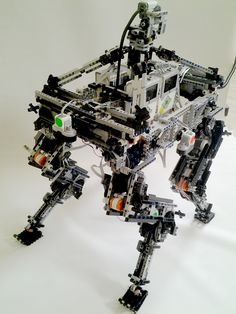 4 legs robot,all lego ,12 motors 4 ev3 mindstorm., 4 ir sensors and one gyro software: FK based