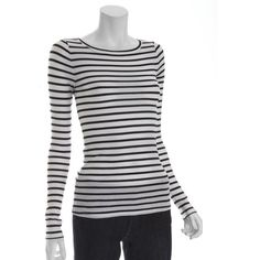 BCBG - Leah White And Black Stripe Stretch boat neck-- with hot pink sweater on top