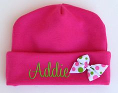 Personalized Beanie Hat Newborn Baby Girl Embroidered Monogrammed Name Bow. $13.99, via Etsy.