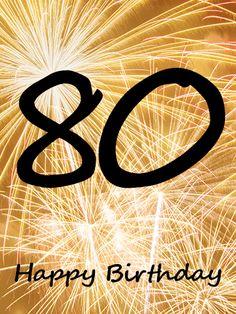 Golden Happy 80th Birthday Fireworks Card