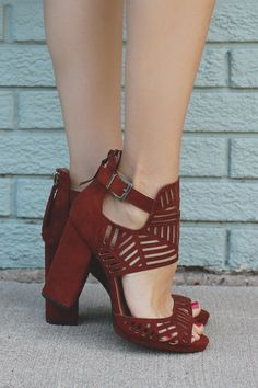 Whiskey Perforated Buckle Ankle Peep Toe Heels