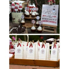 Vintage Milk and Cookies Birthday Party Printables Collection - Red- to go bags are really cute
