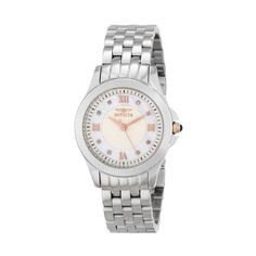 Invicta Angel Silver Dial Stainless Steel Ladies Watch ($165) ❤ liked on Polyvore featuring jewelry, watches, stainless steel wrist watch, cabochon jewelry, blue jewelry, roman numeral watches and analog wrist watch