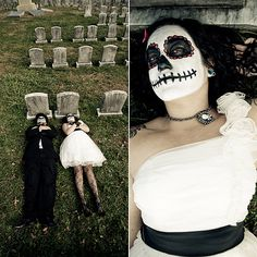 Halloween wedding ideas: If you're going to do a day-after, trash the dress shoot, go big or go home with face paint and a creepy cemetery locale.