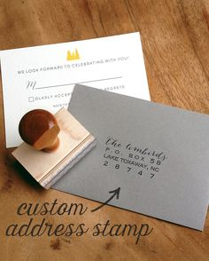 This custom address stamp is stylish and practical for wedding invitations, thank you notes, books or even luggage tags. This style features the name written in a whimsical calligraphy style and a blocky sans serif font for the address. Just enter your name, family name or two names (for you lovebirds) and address and get ready to send off snail mail with extra flair.