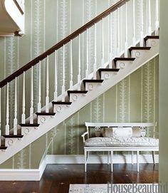 Claremont, Palm Stripe | Top 10 Entryway Wallpapers | McGrath II Blog