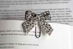 Bow tie paper clips from fabric scraps