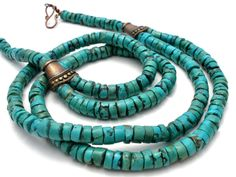Chinese Turquoise Disk Bead Necklace Gemstone Vintage Tibetan Jewelry Blue #Beads