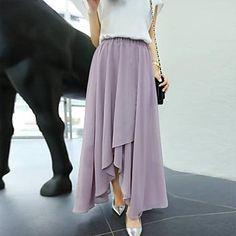WeiMeiJia Women's Irregular Side Slit Chiffon Skirt - USD $ 17.99