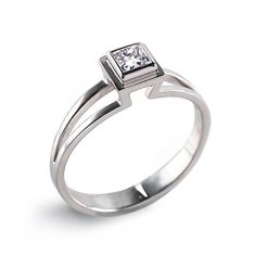 PRINCESS cut Engagement  Ring with a diamond solitaire, $1550.00