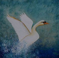Taking Flight - Swan Painting on Canvas x Swan Painting, White Swan, Mixed Media Canvas, Bird Art, Birds In Flight, Close Up, Drawings, Delivery, David