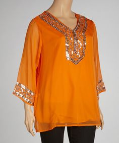 Look at this #zulilyfind! Orange Sequin Tunic - Plus #zulilyfinds