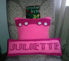 Crochet Pillow Cushion with girl name Juliette.Crochet by me (M).