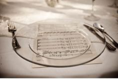 Wedding placemats-purchase sheet music or a sheet music book from a thrift store and use a paper cutter to ensure straight edges. Indie Wedding Songs, Sheet Music Wedding, Vintage Sheet Music, Wedding Games, Wedding Table, Wedding Blog, Diy Wedding, Wedding Placemat, Wedding Ideas