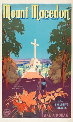 Mount Macedon by James Northfield - Mt. Macedon, Victoria, Australia, Published by Queen City Printers Pty Ltd for the Victorian Railways as part of its campaign to encourage local tourism. Posters Australia, Australian Vintage, Tourism Poster, Pub, Victoria Australia, Vintage Travel Posters, Vintage Advertisements, Vintage Ads, Australia Travel