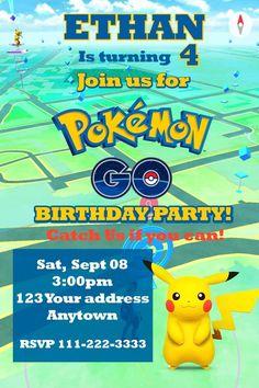 POKEMON GO PIKACHU Birthday party invitations personalized You print #my #BirthdayChild