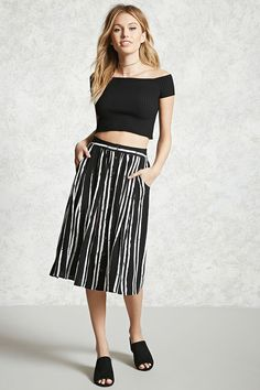 Forever 21 Contemporary - A woven skirt featuring a stripe pattern, front slant pockets, button front, and an elasticized back waist.