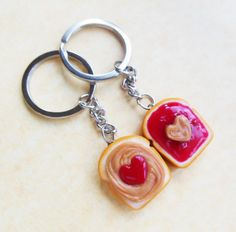 strawberry jam hearts peanut butter and jelly key chains key rings best friend bff kawaii valentine's day