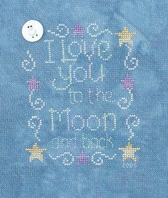 The perfect design for a child's bedroom, this cross stitch pattern is a whimsical testament of a parent's love.    Available from Stoney Creek: http://store.stoneycreek.com/waxing-moon-designs---love-you-to-the-moon-p13416.aspx