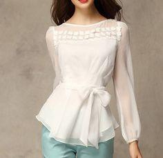 White Chiffon Blouse vintage lace blouse women blouse fashion shirt blouse