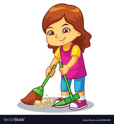 Girl clean up garbage with broom and dust pan Vector Image ,