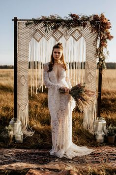 Vintage bell-sleeve Rue de Seine wedding dress   Image by Chris and Ruth Photography