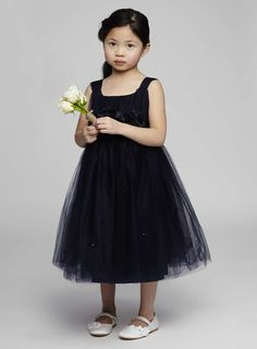 VERY SERIOUS CHILD ASIDE Layla Navy Flower Girl Corsage Dress
