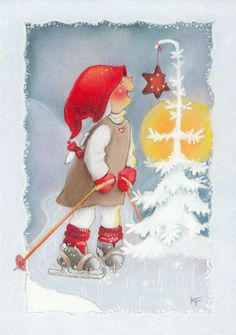 Thank you Kaarina Toivanen Christmas Gnome, Vintage Christmas, Christmas Crafts, Winter Illustration, Christmas Illustration, Christmas Cartoons, Christmas Clipart, Christmas Time Is Here, Winter Cards