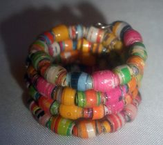 ◕❧ Multi-Color Micro Recycled Paper Bead #Wrap #Finger Ring -- Size 5 by Cu... #teens http://etsy.me/2n3H8k7