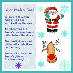 Christmas printable for magic reindeer food that your kids can sprinkle on the lawn the night before Christmas to direct Santa and his reindeer to your house!