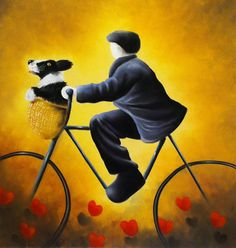 A Bicycle Made For Two by Mackenzie Thorpe -The Acorn Gallery - Beautiful and Unique Artwork Little Acorns, London Art, International Artist, Fine Art Gallery, Artist Gallery, Cute Illustration, Love Art, Art Images, Photo Art