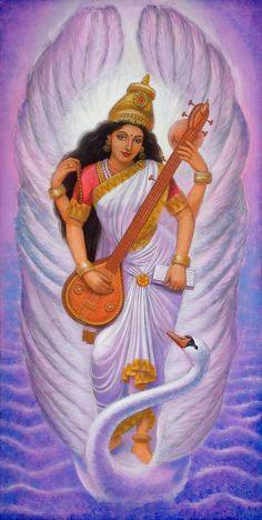 Saraswati spiritual art Hindu Goddess India yoga poster print of painting by Sue Halstenberg Saraswati Mata, Saraswati Goddess, Shiva Shakti, Saraswati Photo, Saraswati Statue, Hindu Kunst, Hindu Art, Indian Goddess, Goddess Art