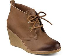 Harlow Burnished Leather Wedge Bootie - back for fall #wedges #bootie #sperry