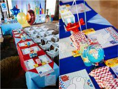 Sebastian's Airplane Themed Party – Kiddie table setup