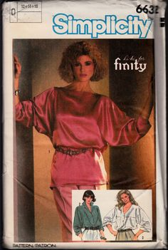 VINTAGE 1984 SIMPLICITY SEWING PATTERN #6632 MISSES TOPS SIZES 12-14-16