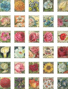 Vintage Flowers Digital Scrabble Tile Collage door TheGrafficalMuse