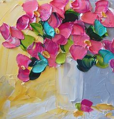 Abstract Painting Pink Floral Oil Painting by IronsideImpastos