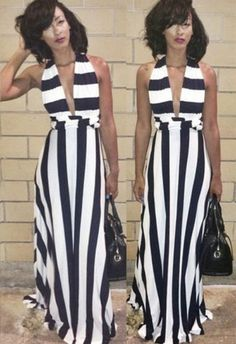 8f72190f2ce Buy Sexy Halter Striped A Line Maxi Dress Maxi Dresses under US  22.99 only  in
